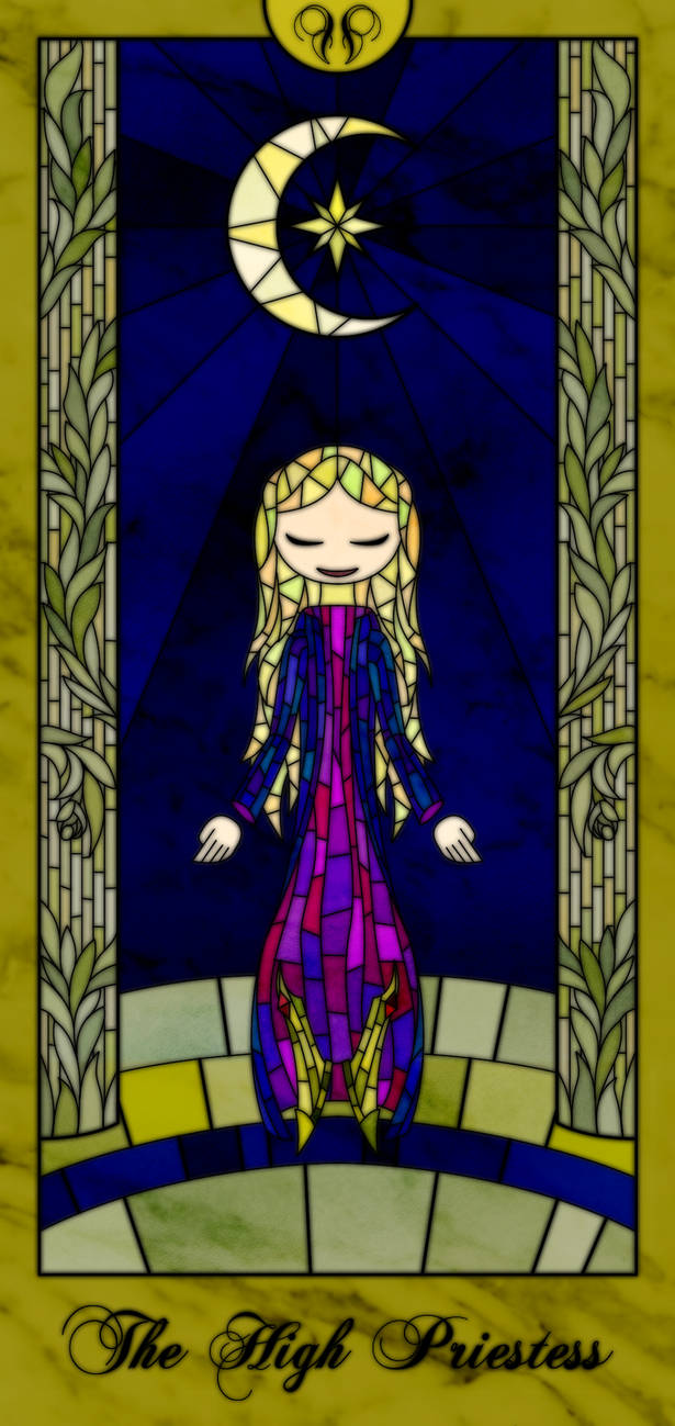 Stained Glass Tarot Card (The High Priestess) V2 by TheCreator7777