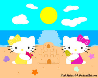 Kitty and Mimmy at the Beach by MissPinkStripes