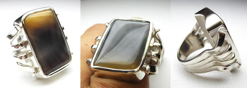 Unique agate ring by Vansee-Jewelry