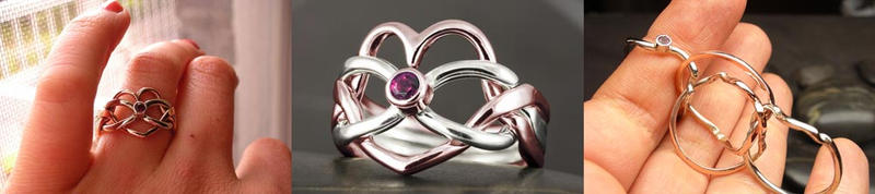 Heart puzzle ring pink tourmaline by Vansee-Jewelry