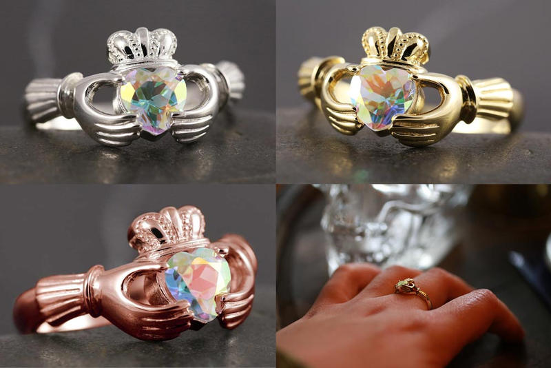 Gold claddagh ring with mystic topaz by Vansee-Jewelry