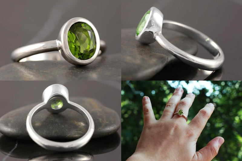 Simple peridot engagement ring in sterling silver by Vansee-Jewelry