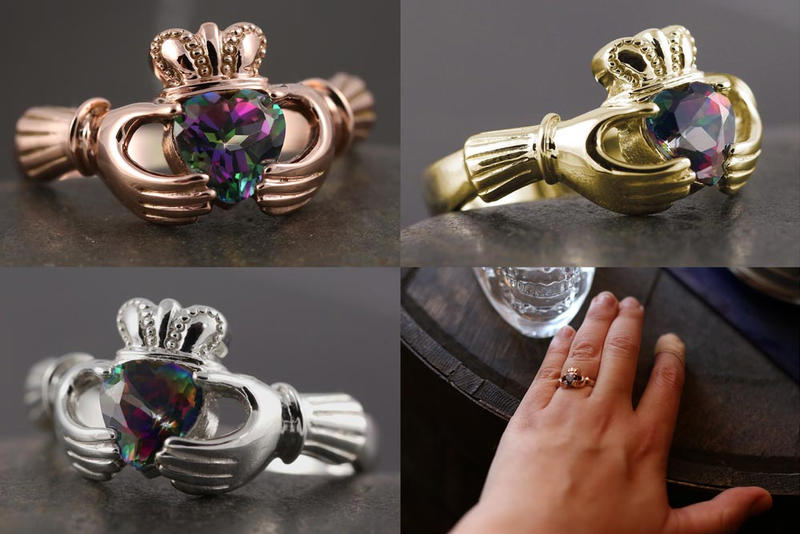 Alexandrite mystic topaz claddagh ring by Vansee-Jewelry