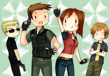 wesker-chris-claire-steve by tuch-nin
