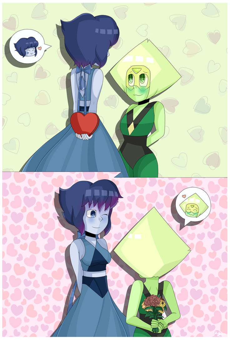 Peridot and Lapis exchange Valentine's gifts.  Happy Valentine's Day. (: