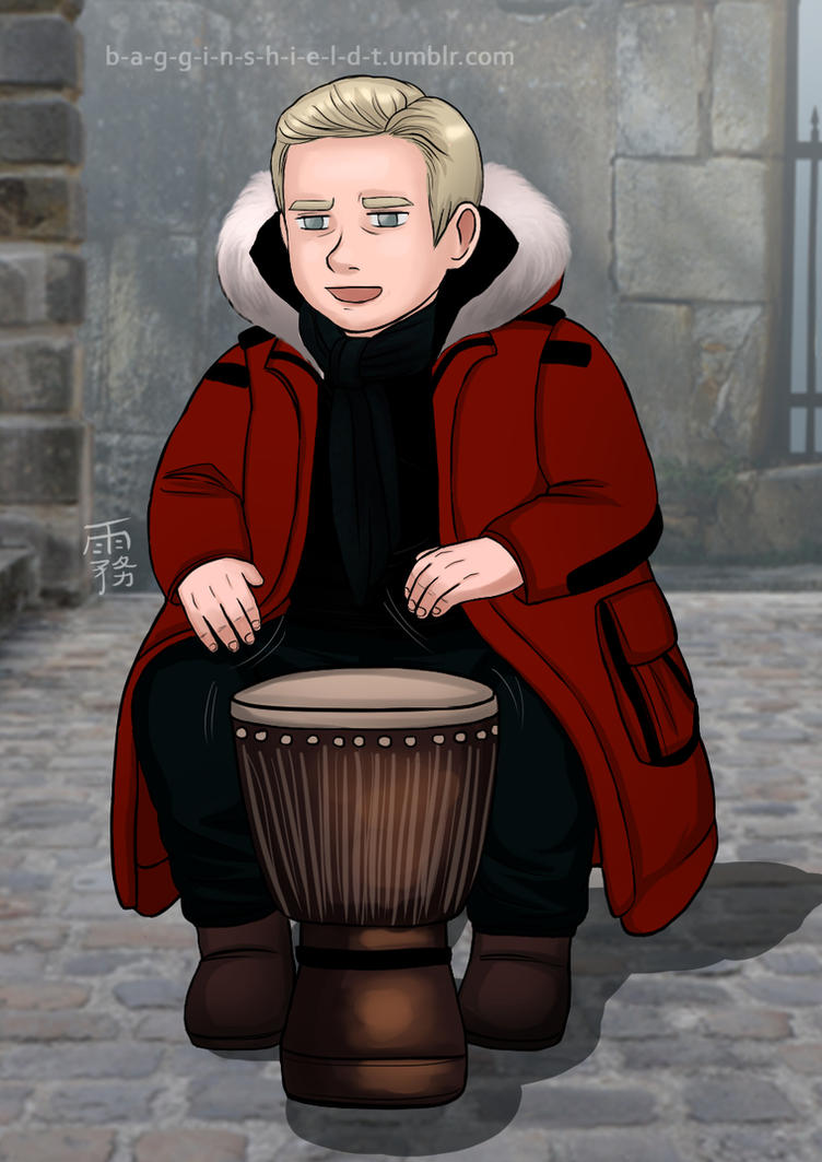 Martin playing drums by Kiri-Yami