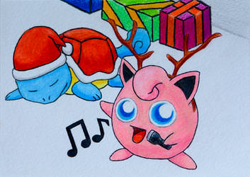 Pokemon Christmas Card - Squirtle and Jigglypuff
