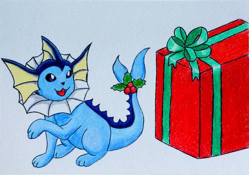 Pokemon Christmas Holiday Card - Vaporeon