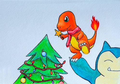 Pokemon Christmas Card - Charmander/Snorlax