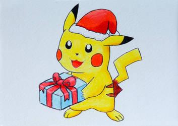 Pokemon Christmas Holiday Card - Pikachu