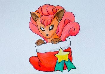 Pokemon Christmas Holiday Card - Vulpix