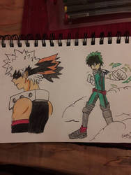 Bakugo and Izuku Sketch  by Novabow347