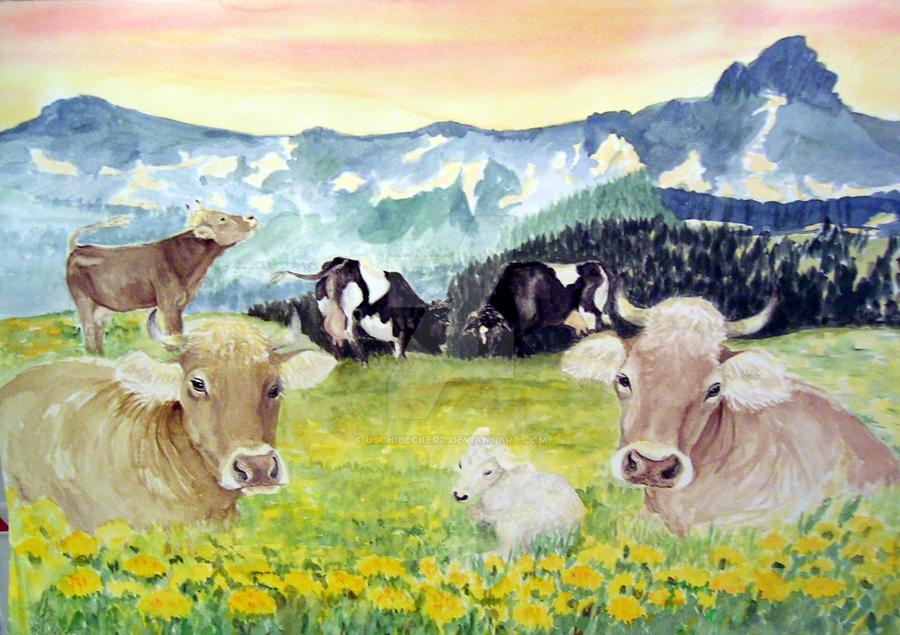 cows by uschibeckert