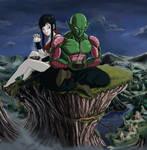 Piccolo with Adultpan in Moonlight by NovaSayajinGoku