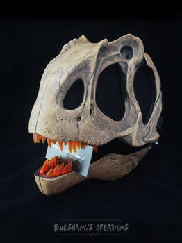 Allosaurus Skull Mask -  Custom Fossil paint