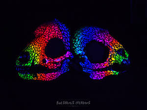 Neon UV Wolf and Rodent skull masks