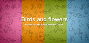 Birds and flowers seamless pattern (Free PNG)