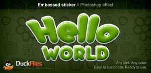 Sticker text style (Free PSD) by DuckFiles
