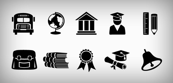 Education web icons set (Free PSD and PNG)