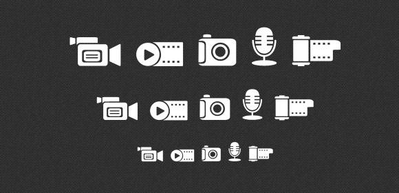 Media icons set (PNG, PSD)