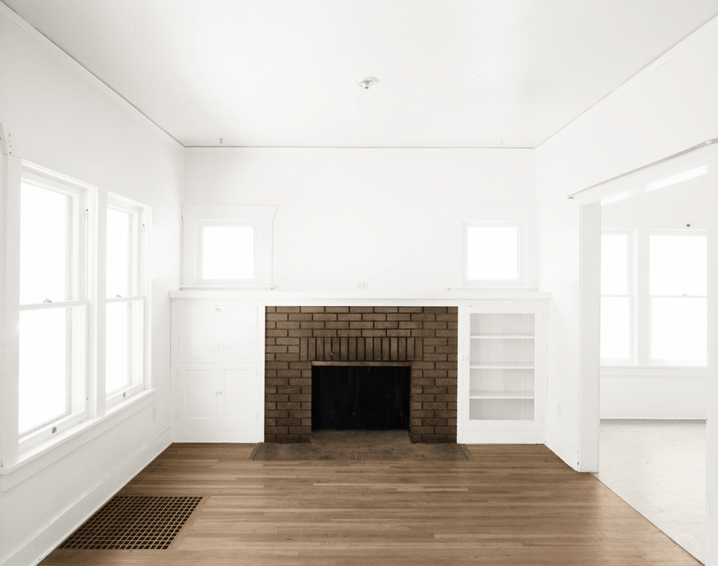 empty room two rooms brown fireplace brown by
