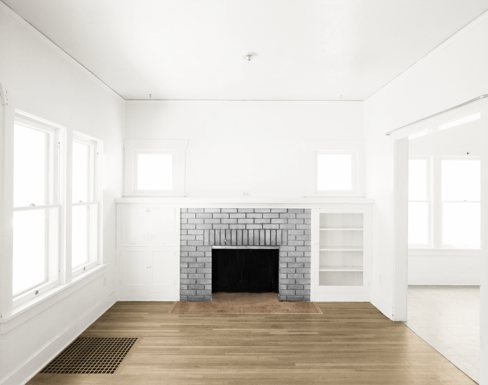 Light Grey Living Room<br> : Empty Room - Two Rooms - Gray Fireplace - Light Br by Quryous on DeviantArt