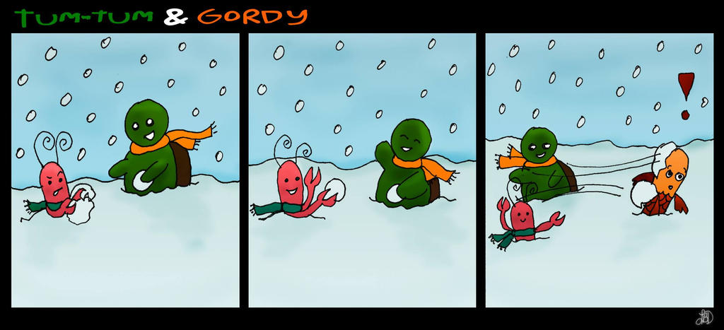 Tum-Tum and Gordy - Snowballs by DarkIcePrincess