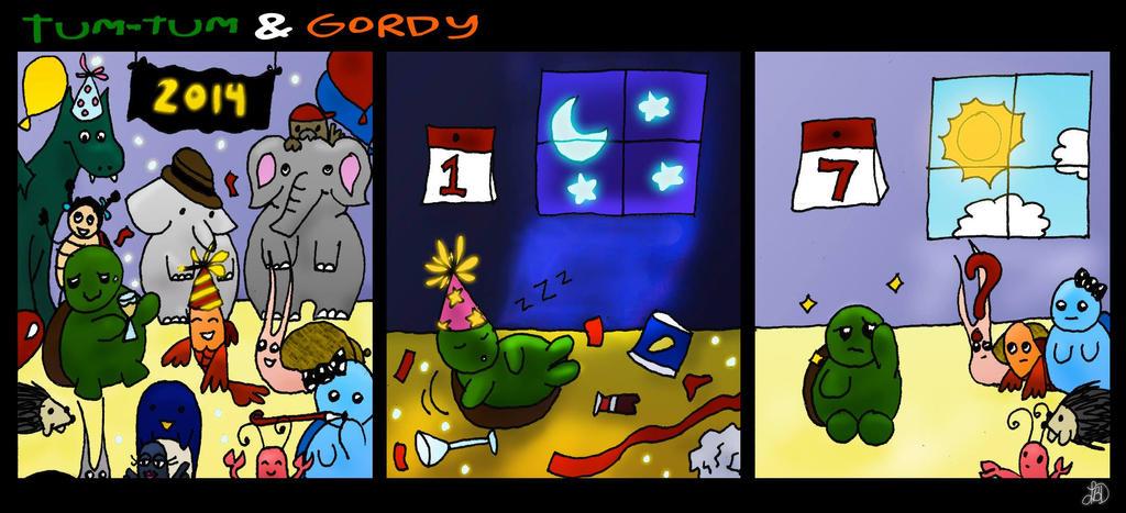 Tum-Tum and Gordy - Happy 2014 by DarkIcePrincess