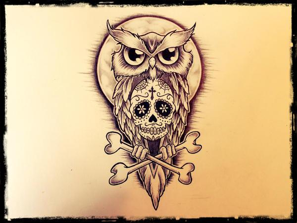 Owl Sugar Skull Tattoo Chest Sugar Owl2 years ago in Tattoo