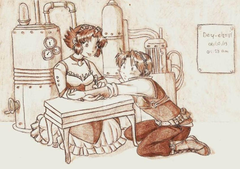 Steampunk Chris y Cherry by Kamikase-Dey