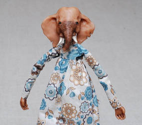 Elephant Klotylda - art doll ooak - animal