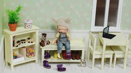 wooden furnitures set for dolls 1/6 irrealdoll