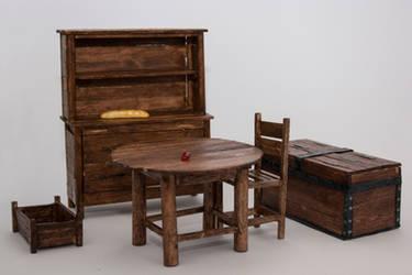 Skyrim themed miniature furniture by Tharanthiel