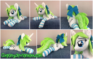34in laying Minty Root OC plush by qtpony