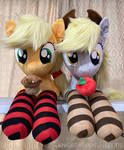 Applejack and Derpy plushies