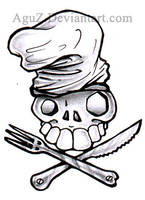 :original: Chef Skull Tattoo by AguZ