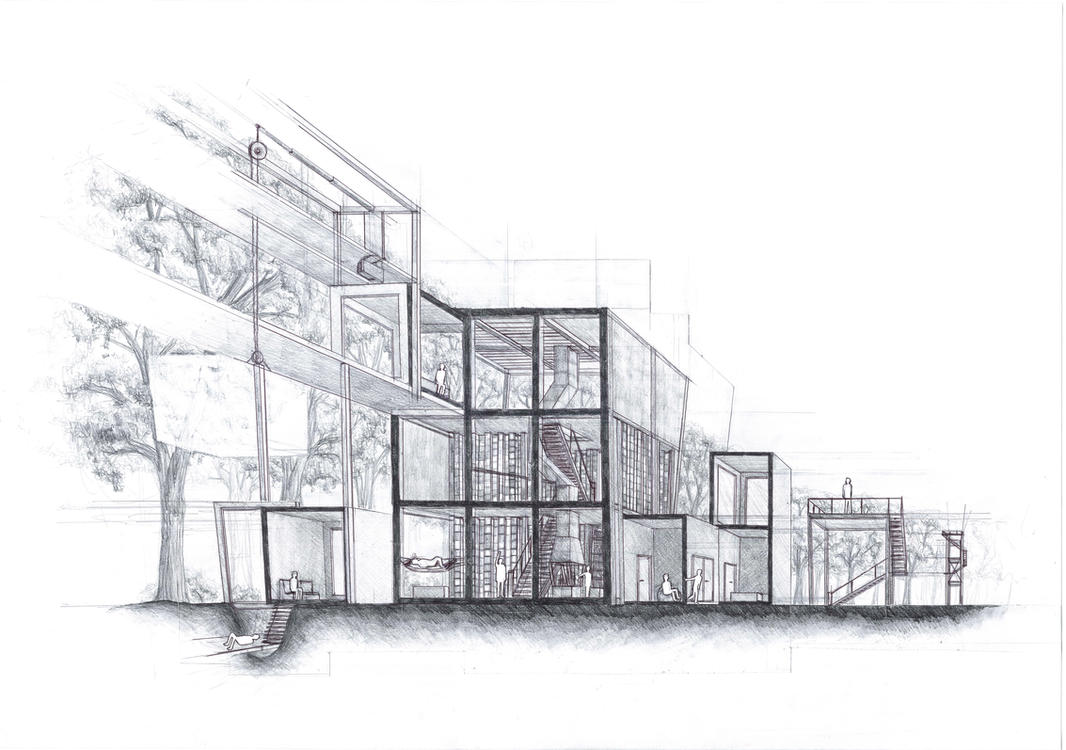 Architecture process drawing by a chard on deviantart for Architecture plan drawing