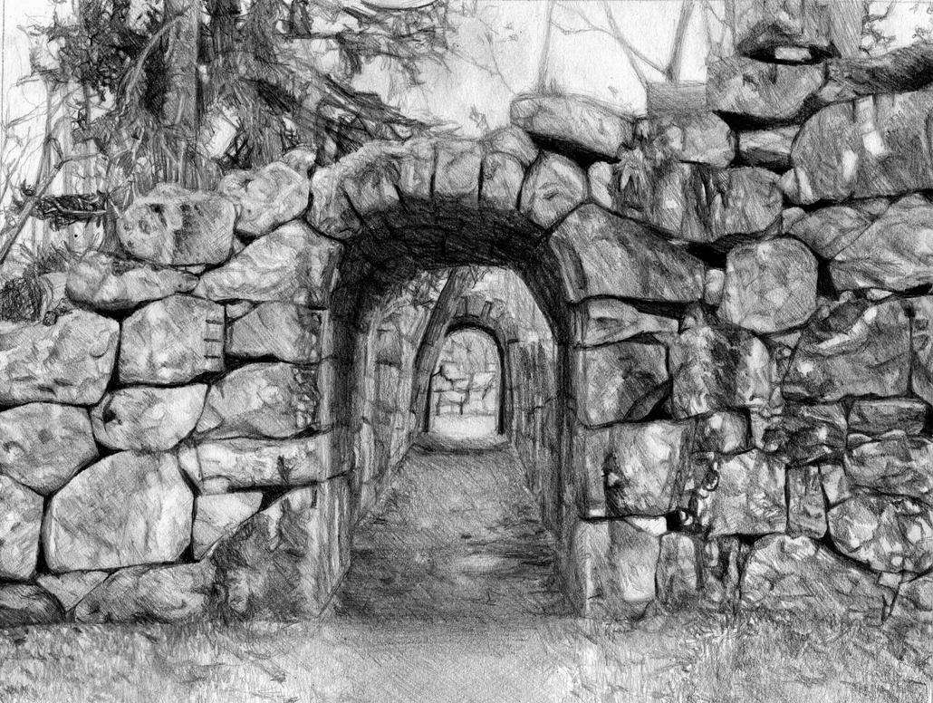 Stone Ruin - Drawing by A-Chard