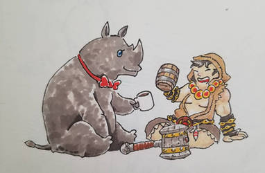 Viced Rhino and Suris the Skeptic  by Da-Blue-Monkey