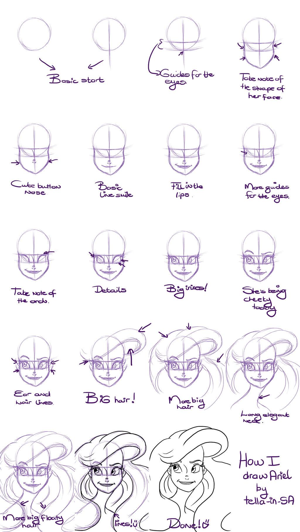 How I draw Ariel by Tella-in-SA on DeviantArt