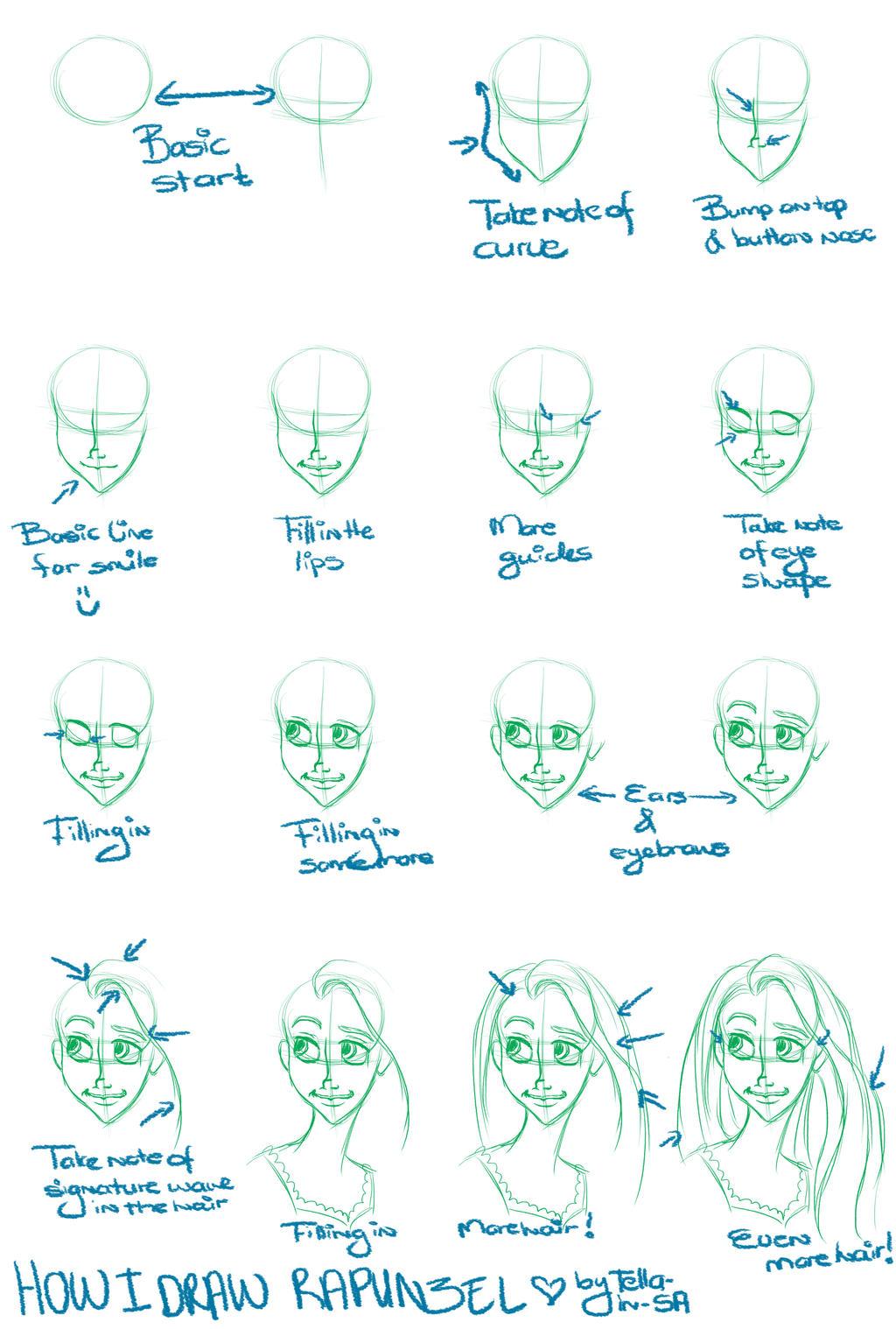 How I draw Rapunzel by Tella-in-SA on DeviantArt