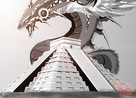 Quetzalcoatl's Temple - Black and White by zeezeeazc123