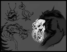 Skullrilla and Friends by zillabean