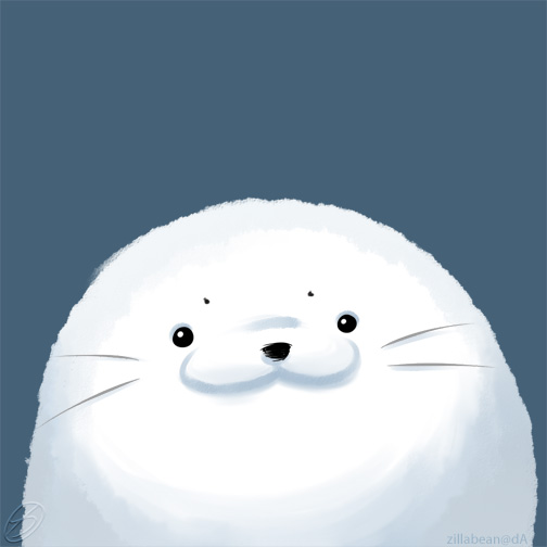 Fuzzy Harp Seal by zillabean