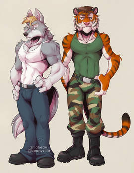Commission: Wolf and Tiger