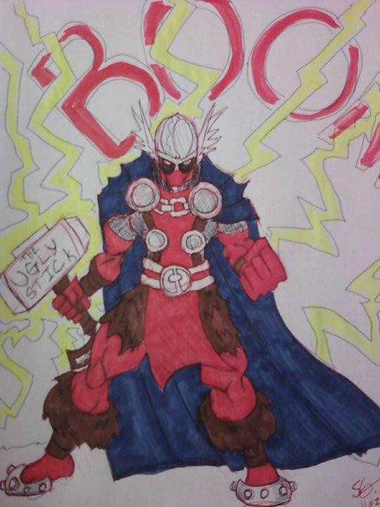 Deadpool GOD of Thunder by castlehoff