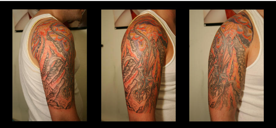Fire Dragon Half-Sleeve - sleeve tattoo