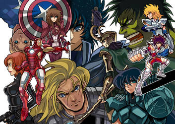 doujinshi cover Saint Seiya Crossover The Avengers by zaionic