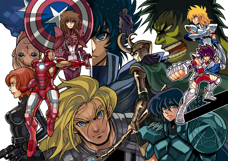 doujinshi cover Saint Seiya Crossover The Avengers by zaionic