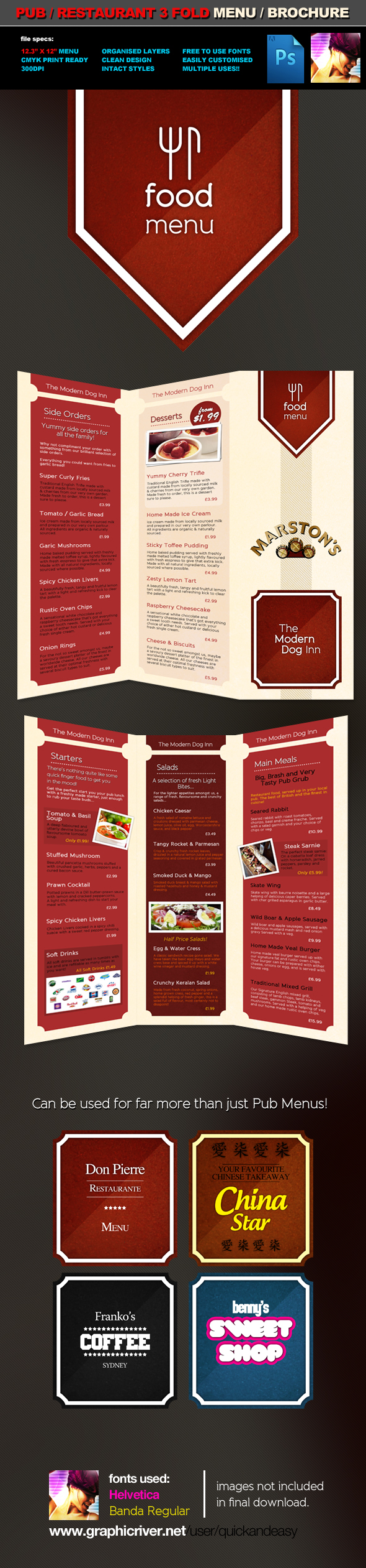 3 Fold Pub Food Menu Brochure by quickandeasy1